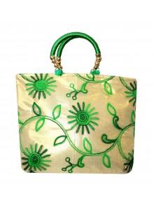 green embroidered net golden tissue purse