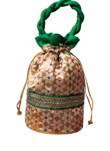 Handicraft Brocade Flower Potli Green