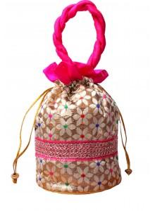 Handicraft Brocade Flower Potli Pink
