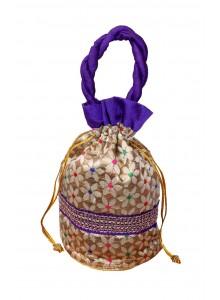 Handicraft Brocade Flower Potli Purple