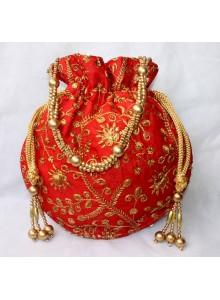 embroidered silk designer potli