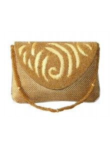 golden pearl handwork premium clutch hand bag