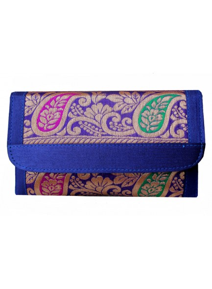 blue brocade clutch with long sling chain