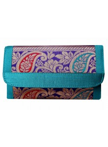 aqua brocade clutch with long sling chain