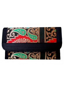 black brocade clutch with long sling chain