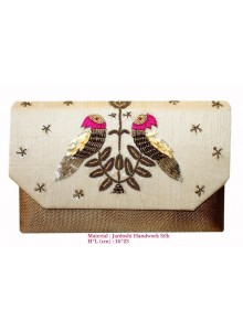 cream zardosi work clutch
