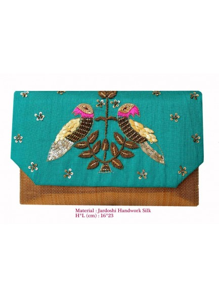 aqua zardosi work clutch