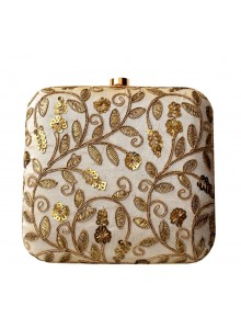 creamy golden embroidered silk clutch