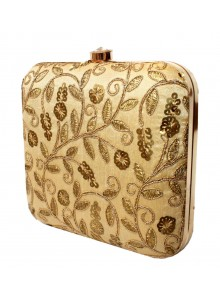 golden embroidered silk clutch