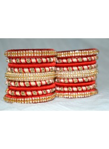 red and white silk thread bangles set