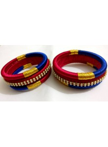 blue and rani bangles set
