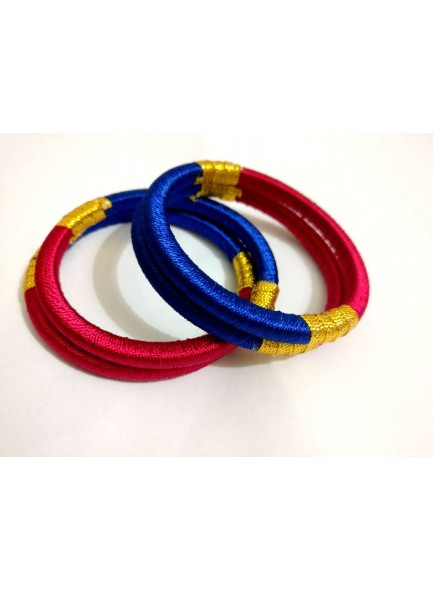 blue and rani bangle set
