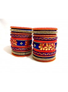 classic handcrafted blue and red color designer silk thread bangle set