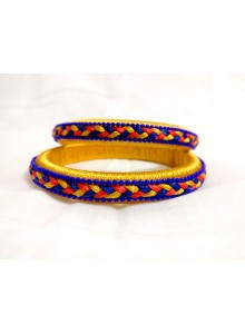 blue and yellow silk thread bangles