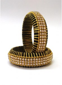black and golden silk thread bangles