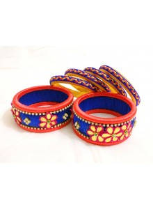 blue and yellow silk thread bangles set