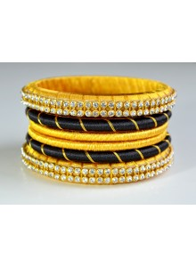 black and yellow silk thread bangles set