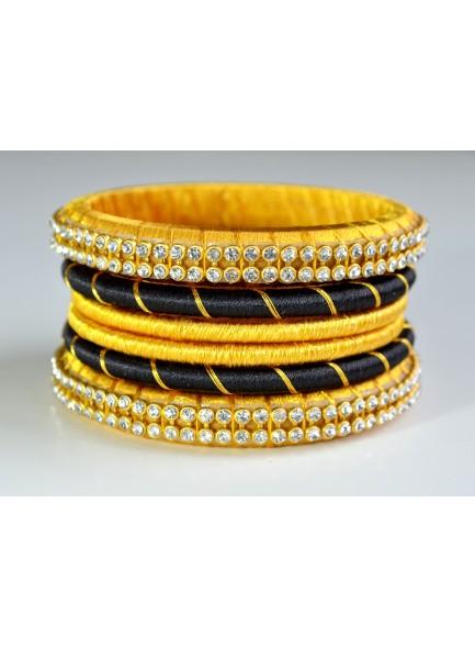 black and yellow silk thread bangles set