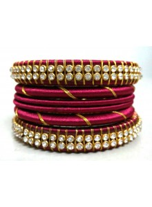 maroon silk thread bangles set