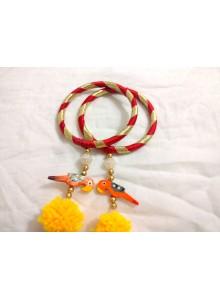 marron woolen thread bangles with parrot jumkha