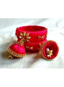 rani kundan silk thread bangles with dulls