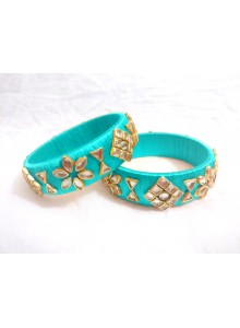 aqua silk thread  kundan bangles