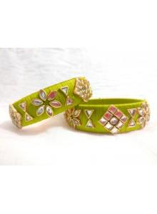 green kundan bangles