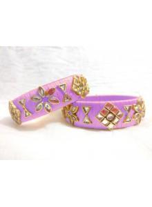 light purple kundan bangles
