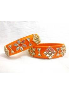 orange kundan bangles