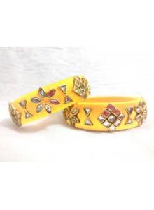 yellow kundan bangles