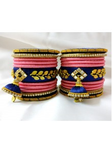 pink and blue silk thread bangles