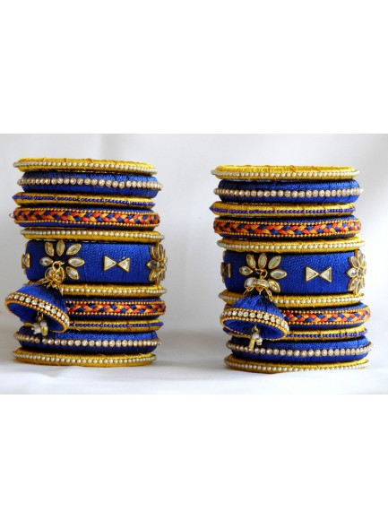 blue and yellow silk thread bangles with dulls