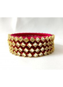 rani kundan silk thread bangles