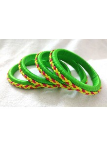parrot green silk thread bangles