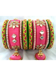 pink and green silk thread bangles