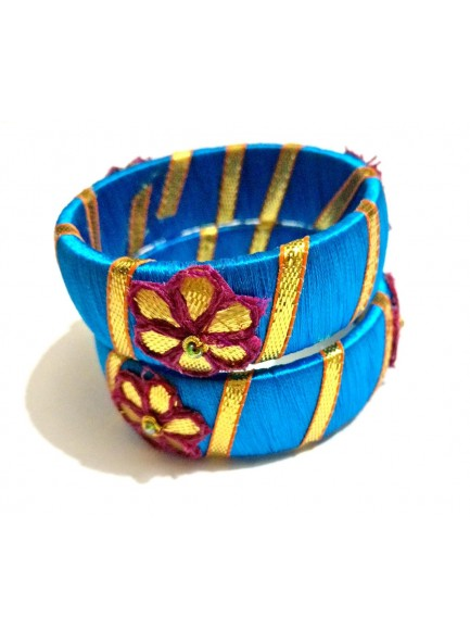 blue silk thread gota patti bangles