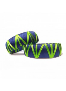 green and blue silk thread bangles