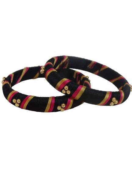 black and rani silk thread bangles