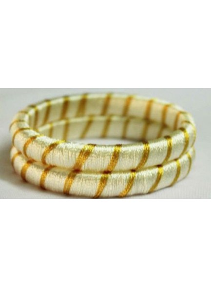 cream silk thread bangles