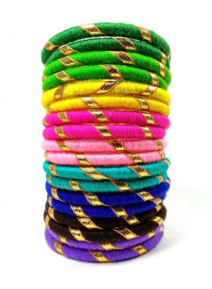 multi color woolen thread bangles