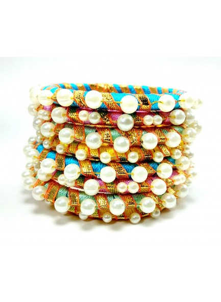 multi silk thread pearl bangles