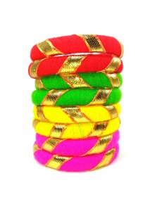 multi color woolen thread bangles