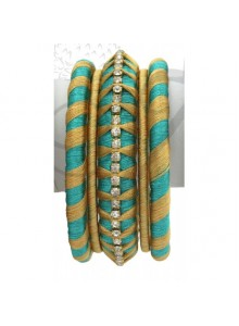 aqua and golden thread bangles