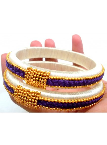 blue and white thread bangles