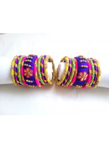 multi color silk thread bangles