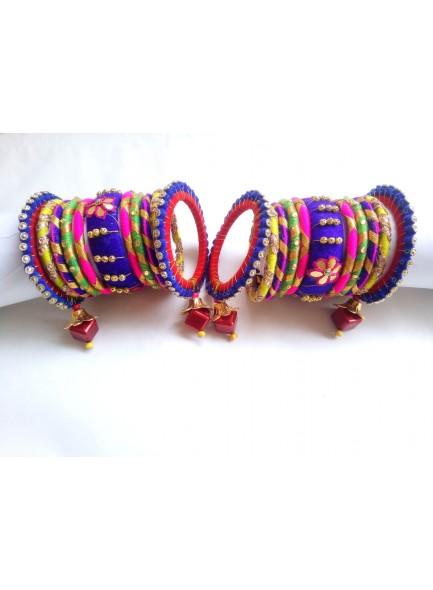 multi color silk thread bangles set with latkan