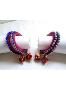 blue and red bangles with latkan