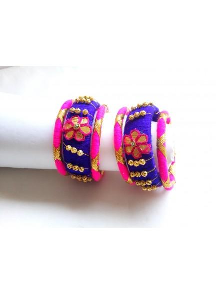 blue and rani bangles set
