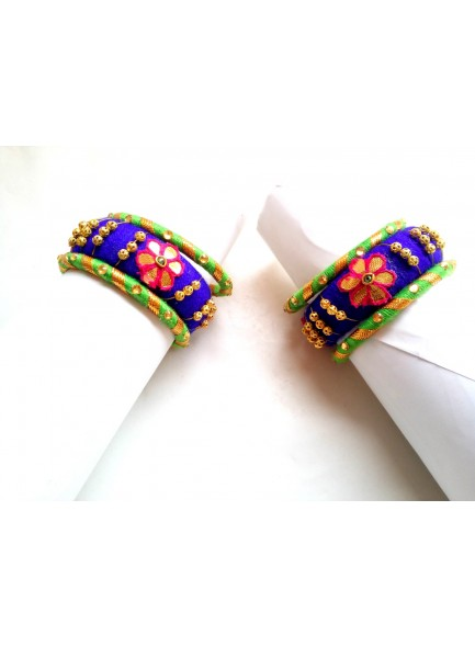 blue and parrot bangles set