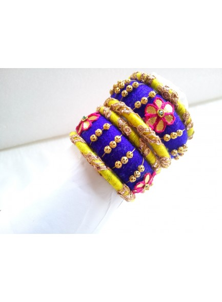 blue and yellow bangles set
